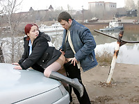Autumn fucking in the street with a red girl