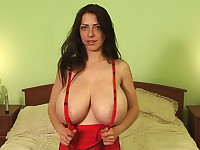 Watch this babe's gigantic boobs shaking like hell while she screws pussy with dildo!